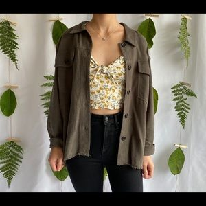 Button Down Collared Shirt Jacket